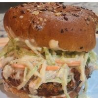 BBQ Chickpea Cheeseburger w Broccoli Slaw