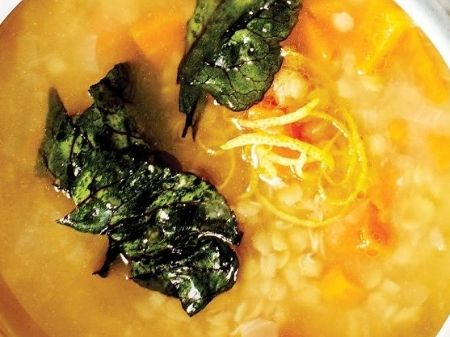 lemony-lentil-soup-with-beet-green-crisps