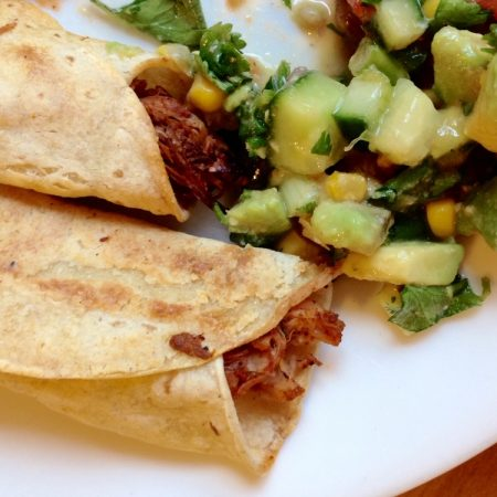 BBQ Jackfruit Taquitos with Avocado Cucumber Salsa