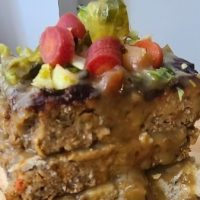 Vegan Open Faced Meatloaf with Brussels and Pickled Carrots