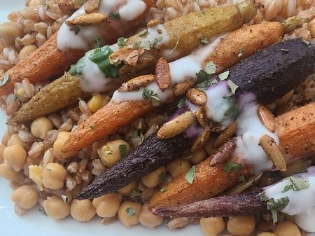 Ruasted Carrot Farro Chickpea Herbed Cream